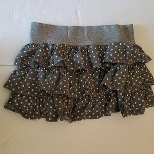 Flouncey grey polka dot short skirt